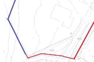 Verratkaapa tätä edellisviikon kuvaan. Punainen on Empowerin vetämä kaapeli, sininen on meidän. Laatikko on tonttikeskus.